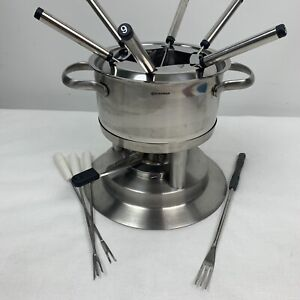 Swissmar Stainless Meat Cheese and Chocolate Fondue Set NO CERAMIC POT