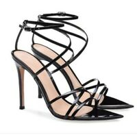 Womens Sexy Strappy High Heels Patent Leather Peep Toe Stilettos Shoes Party