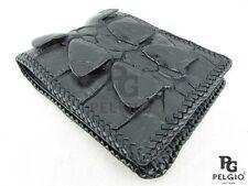 PELGIO Real Genuine Crocodile Alligator Tail Skin Leather Handmade Wallet Black