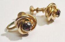 boucles d'oreilles vis ancienne couleur or signé CORO cristal améthiste * 3487