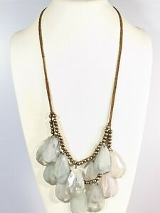 Bronze Tone Brown Cord Gray Acrylic Teardrop Double Strand Necklace 32 Inches