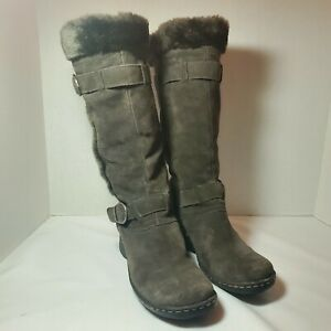 BareTraps Catchy Brown Suede Brown Faux Fur Tall Wedge Heel Boots Size 10M Women