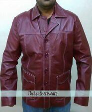 Fight Club Brad Pitt Leather Jacket FC Coat Men - Burgundy - 100% REAL  Leather
