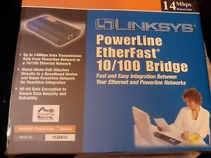 LINKSYS~POWERLINE ETHERFAST 10/100 BRIDGE~PLEBR10~2002 NEW SEALED BOX