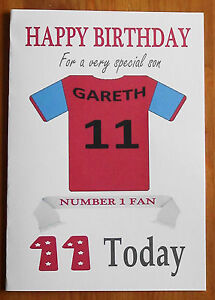 ASTON VILLA FAN Unofficial PERSONALISED Football Birthday Card (Claret & Blue)