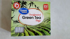GREAT VALUE 100 BAGS DECAFFEINATED  GREEN TEA HOT OR ICED TEA