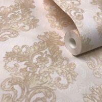 Paper Wallpaper rolls wallcoverings Vintage damask pearl gold cream textured 3D