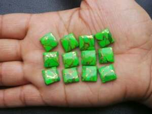 GTL CERTIFIED 25 Pcs Lot Natural Green Copper Turquoise 14x14mm SquareCabochon