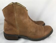 Sonora Short Ankle Cowboy Boots Lt Brown Leather Side Zip Sz US 5.5 Euro 36