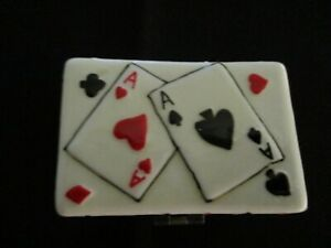 Ceramic Dice Box Decorated with Playing Cards