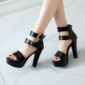 Womens High Heel Strappy Sandals Ladies Peep Toe Ankle Strap Shoes 47/48/49 D
