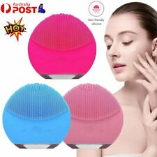 Electric Facial Cleansing Brush Silicone Face Cleaner Washing Massager Scrubber~