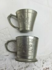 VINTAGE TINY PEWTER SELANGOR MALAYA CUP AND TANKARD PALM TREES SAILBOAT 4CM
