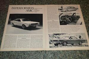 ★★1969 AMC AMX JAVELIN REBEL RAMBLER ORIGINAL FIRST LOOK ARTICLE SPECS INFO 69