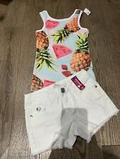 Nwt Justice Trendy Pineapple Tank Top White Jeans Shorts Size 5 Lot 2 Summer Fun