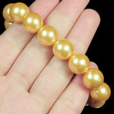 12mm Man Made Yellow Pearl Round Beads Bracelet ChainBPH28