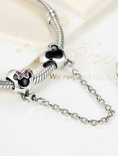 925 SILVER STERLING Disney MICKEY MOUSE Heart safety chain Fit European bracelet