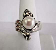 * 925 STERLING SILVER FRESH WATER PEARL RING STONE 9MM FINGER SIZE 7 1/2