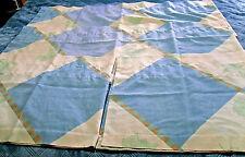 4pcs~BLUE-PALE YELLOW-GREEN~DIAMOND & LEAF PATTERN VALANCES~ROD POCKET