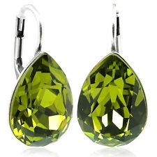 Ohrringe mit Swarovski Elements - Farbe Silber Olive