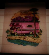 Vintage L&H T-Shirt Heat Transfer - Chevrolet Cobra Camper Van - Outdoors Fish