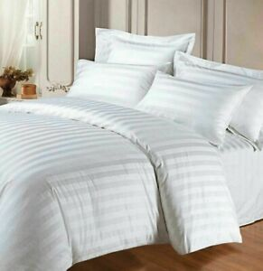 100% Cotton Satin Duvet Cover Set T400 White Stripe with Pillowcase Fitted sheet