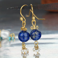 Turkish Sterling Silver Lapis Earrings w/ Dangling Pearl Charms Handmade By Omer