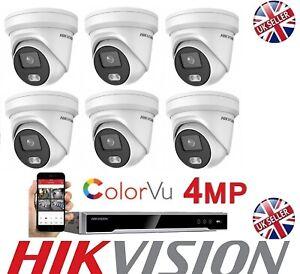 HIKVISION 6 x 4MP COLORVU IP NVR 8CH IP POE CCTV SYSTEM UHD 4K 4TB CCTV KIT UK