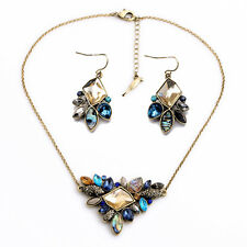 Sunset on the Seine Statement Pendant Necklace With Matching Stud Earrings Set