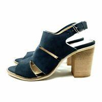 Clarks Navy Blue Suede Leather Slingback Heels / Shoes UK 5 EU 38