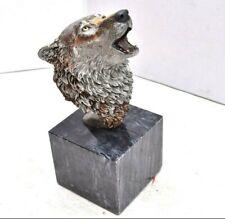 """RARE K. Cantrell LEGENDS 1990s """"Spirit Song"""" Bronze Wolf Sculpture Statue 9"""""""
