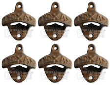 6 Texas Rustic Cast Iron Beer Bottle Opener Wall Mounted Bar Man Cave Kitchen