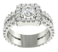 Solitaire Halo Engagement Ring SI1 G 2.50Ct Natural Round Diamond 14K White Gold