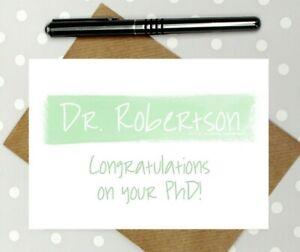 PhD card - personalised card - Dr card - doctor card - graduation card - viva