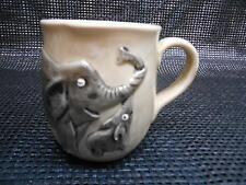 Old Vtg ELEPHANT Coffee Cup Mug Mother & Calf Relief  Sculpture Jungle Decor