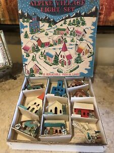 Vintage Putz Christmas Alpine Village Light Set (9) Cardboard/Paint/Glitter