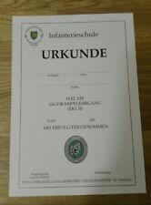 URKUNDE Einzelkämpfer Lehrgang,EKL 2 Bundeswehr Infanterieschule, Ranger Course