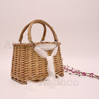 Womens Solid Basket Square Box Tote Straw Woven Bamboo Bag Clutch Bag Wicker Bag