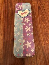 Barbie Pencil Case Tin With Flowers Blue And Purple 1999