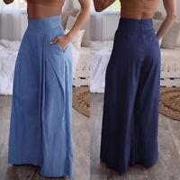 Mode Femme Pantalon Loisir Couluer Unie Poches latérales Jambe Large Longue Plus