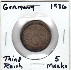 1936  German 5 Mark Paul Von Hindenburg Third Reich Silver Coin