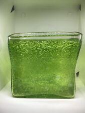 Stunning Bubbles In Green Art Glass Vase Mossy Algae Green Dab
