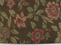 Drapery Upholstery Fabric Chenille Tropical Floral - Green, Gold, Red, Chocolate