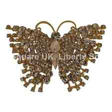 Gold Plated Clear Crystal Butterfly Brooch / Bridal / Wedding Cake Brooch  #584