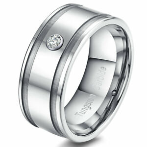 9MM Mens Tungsten Ring Glossy Center Silver Slotted Groove CZ Stone Wedding Band