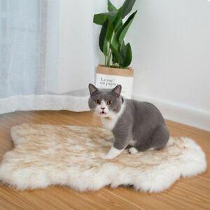 Pet Dog Cat Bed Mat White Rug Faux Fur Orthopedic For Big Medium Small Puppies