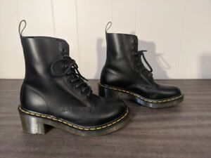Dr. Martens Clemency Black Heeled Lace Up Womens Boots Size EU 38 / US 7 L