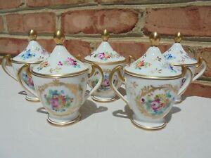 5 Vintage Made in France Porcelain Pots de Creme HP Floral & Gold Cream Pots