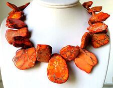 Chunky Orange JASPER Necklace Gold  Vein TURQUOISE Freeform Necklace