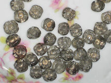 Vintage Glass Flower Beads, Gray Flowers Pressed Glass Artsy Gorgeous NOS #478